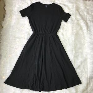 Lands' End Black Short Sleeve Petite Swing Dress M